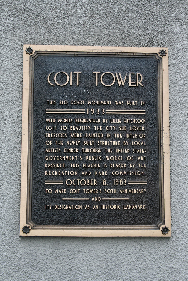 Feb. 19/08 - Plaque at entrance to Coit Tower, San Francisco