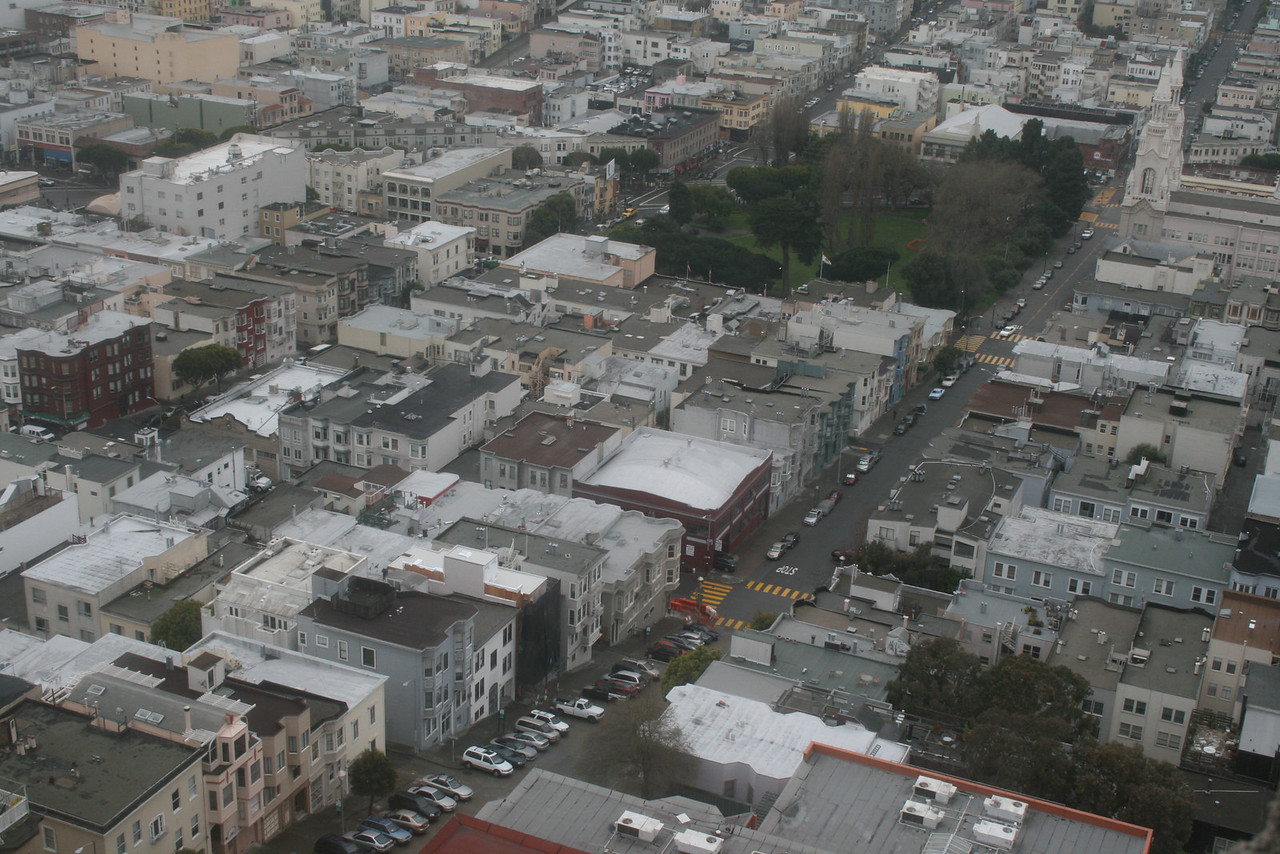 Feb. 19/08 - Filbert St., where I climbed to Telegraph Hill (St. Peter & Paul Church at top right) - from top of Coit Tower, San Francisco