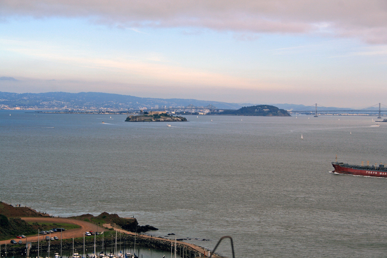 Feb. 18/08 - Alcatraz & The Bay from Golden Gate Bridge, San Francisco