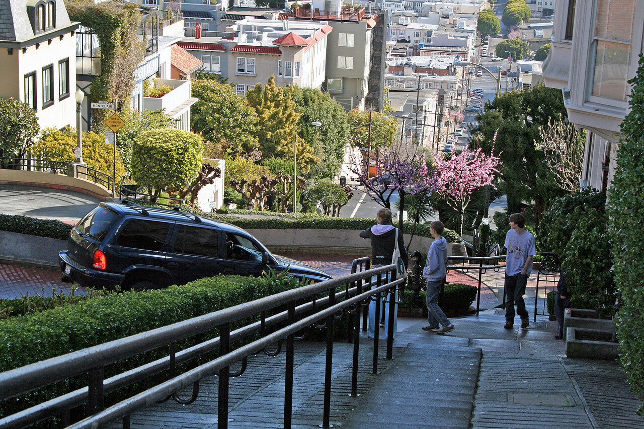 Feb. 20/08 - Walking down Lombard St., San Francisco