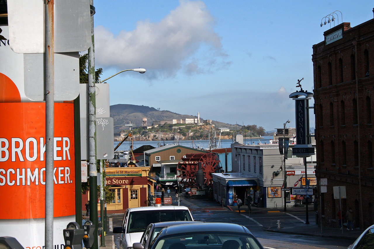 Feb. 20/08 - Hyde Street Pier & Alcatraz (in background), San Francisco