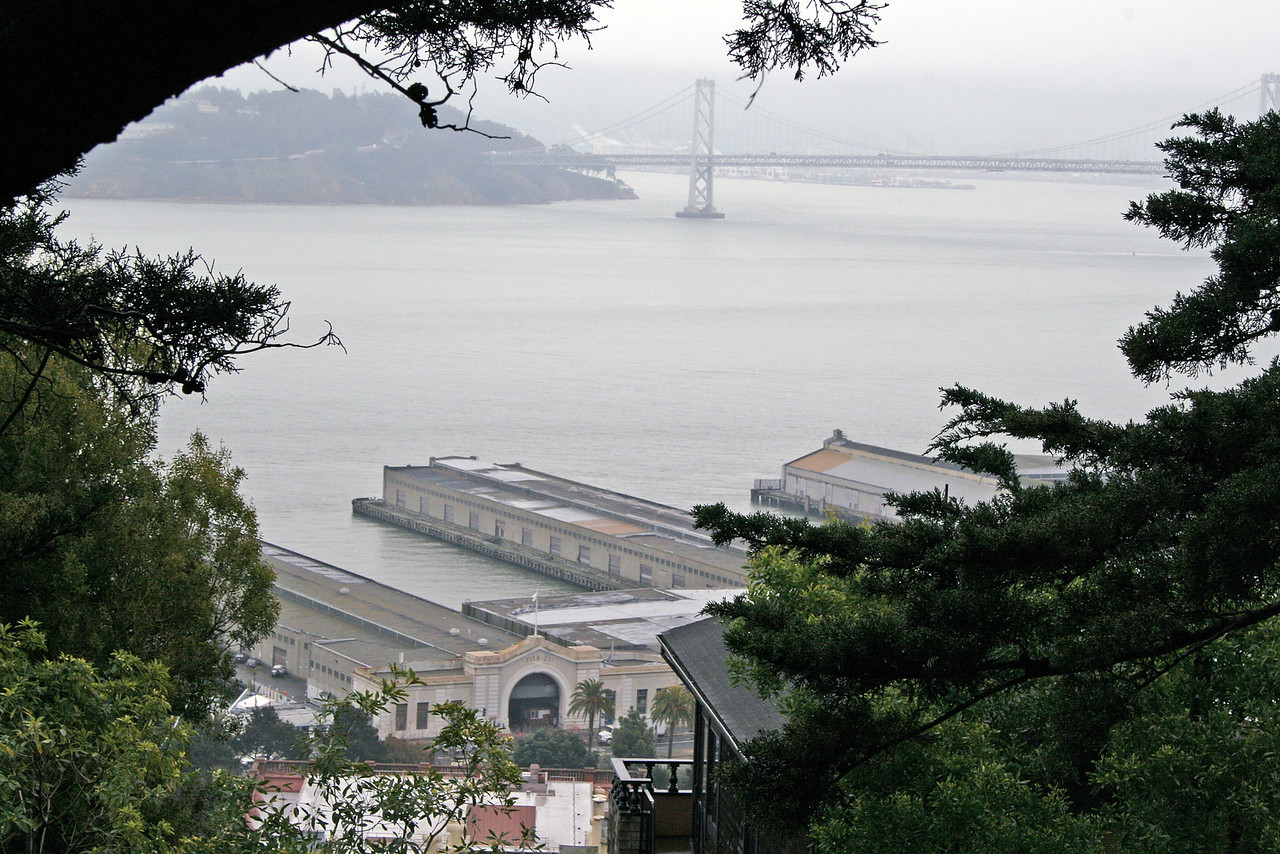 Feb. 19/08 - Embarcadero & Bay Bridge from Coit Tower, San Francisco
