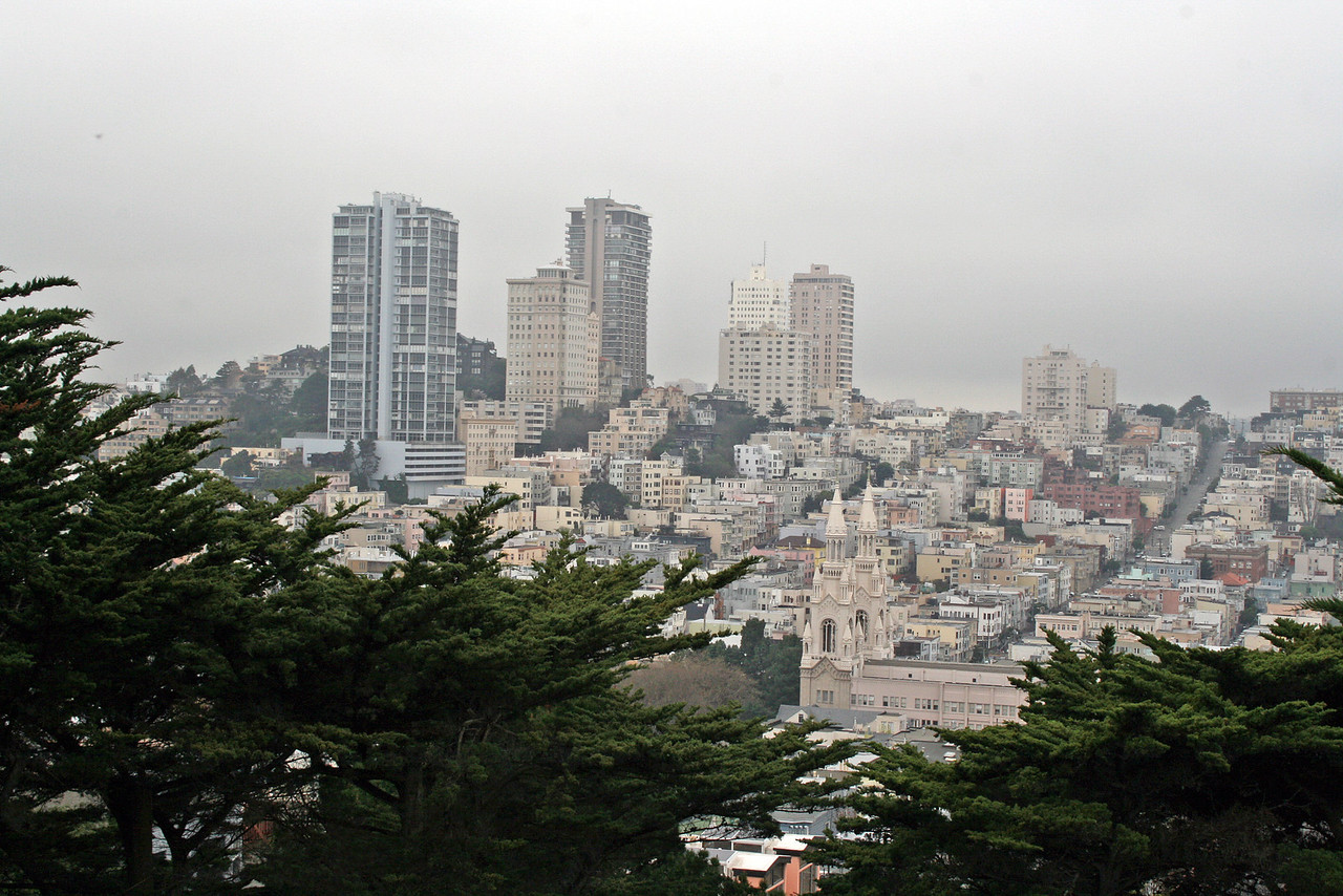 Feb. 19/08 - Looking down at city from base of Coit Tower, San Francisco