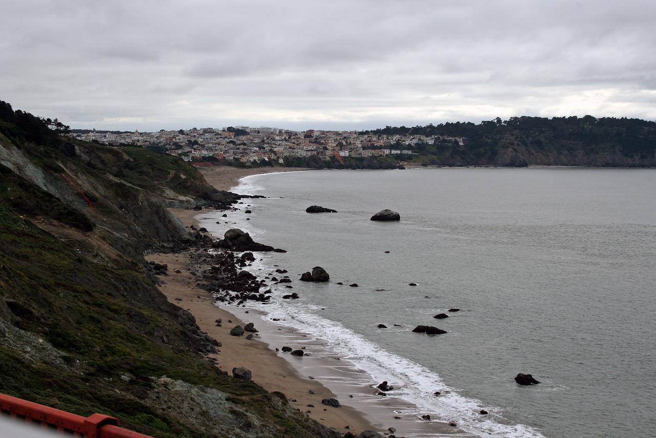 Feb. 18/08 - Baker Beach (on city side), taken from Golden Gate Bridge, San Francisco