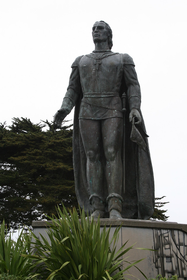 Feb. 19/08 - Giancarlo Mori statue at front of Coit Tower, San Francisco