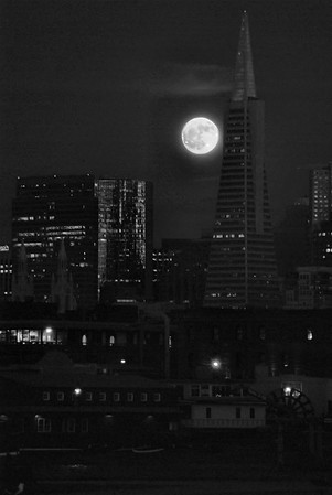 Moon over San Francisco in Black and White