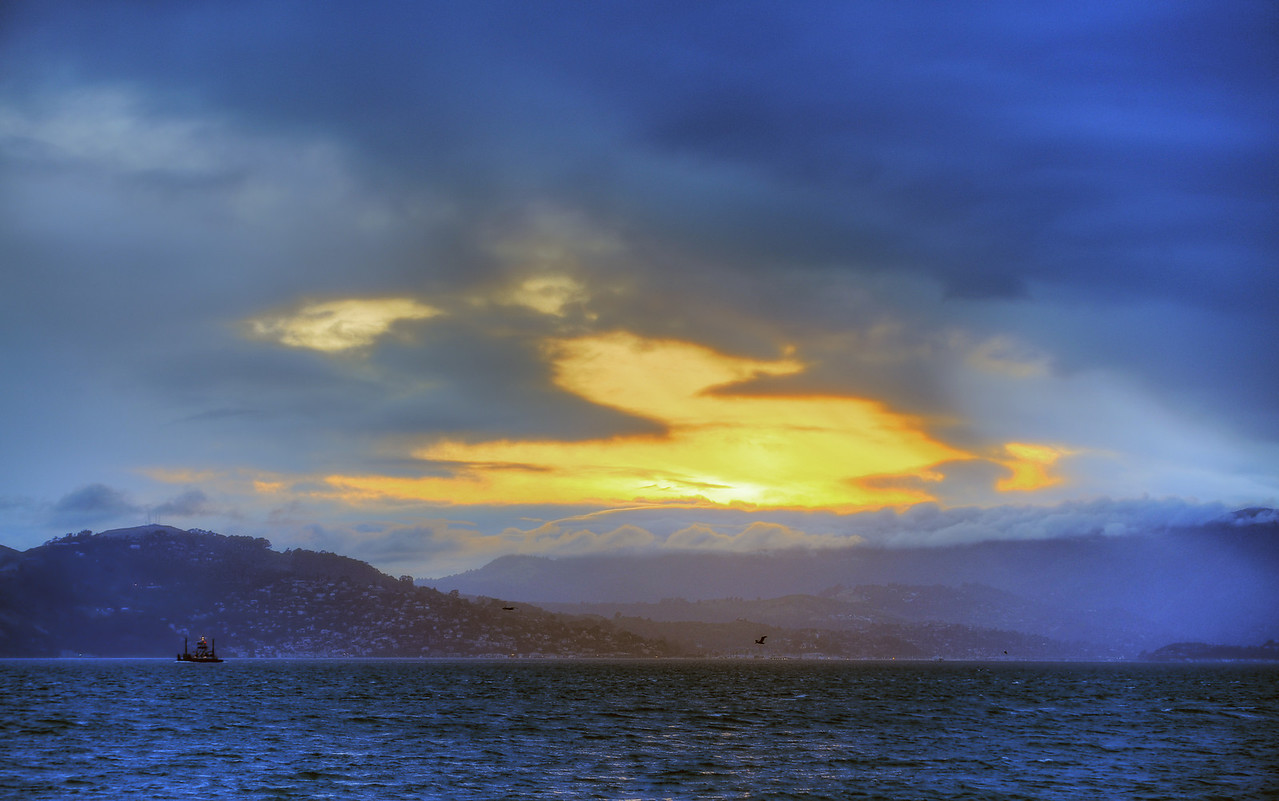 Golden sunset over Marin