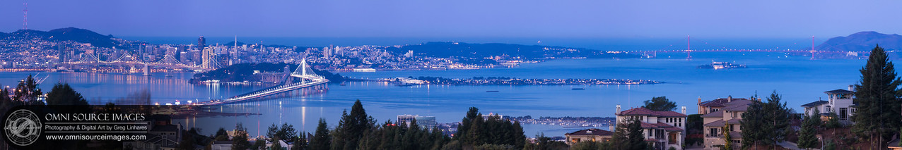 "San Francisco Pre-Dawn Twilight (Super HD-Panorama 1:5). Viewed from the Oakland Hills, this (22,549 x 4510 pixel/300dpi) image is made up from 11 individual, high-res vertical exposures digitally stitched to form this one enormous file. Can be printed up to 96"" in length without any loss of detail! Sunday, December 29, 2013 at 6:57 AM."