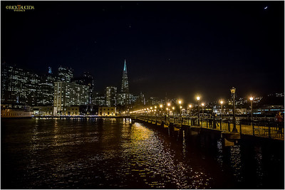 Pier 5, night time San Francisco skyline