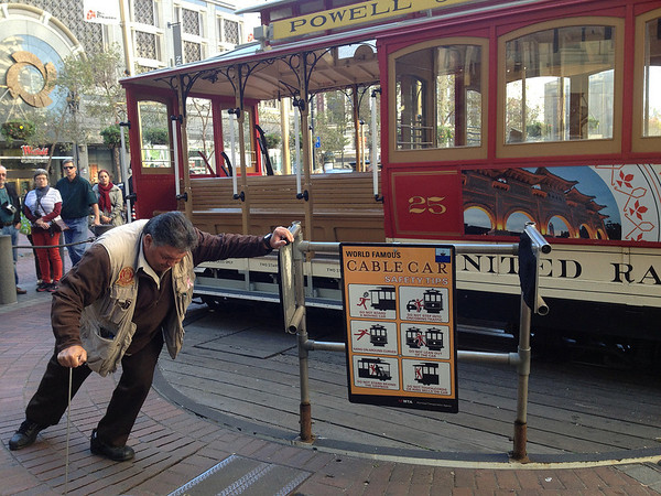 Manually turning a cable car around at the end of the line