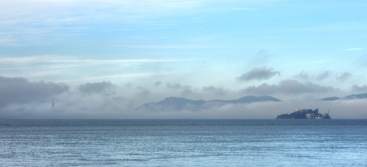 Golden Gate and Alcatraz in morning fog.
