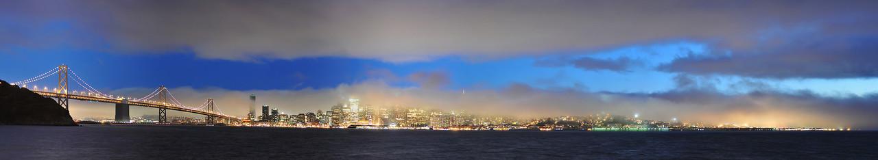 Fog over San Francisco at sundown.