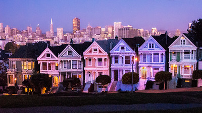 "Evening settles over the ""Painted Ladies"" and Alamo Square in San Francisco"