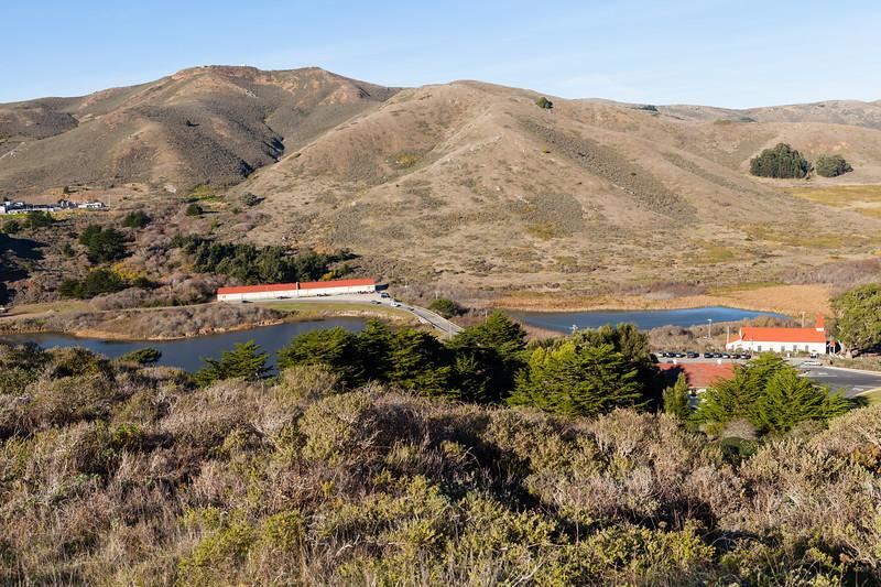 Military buildings near the point outside of Golden Gate Bridge