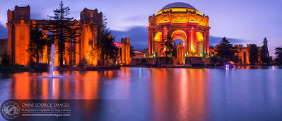 The Palace of Fine Arts - 1915 World's Fair Centennial Lighting SuperHD Panorama (12,490 x 5352 pixels/300dpi). Created from five vertical exposures, digitally stitched and blended into one, seamless image. Saturday, February 21, 2015 at 6:21 PM.