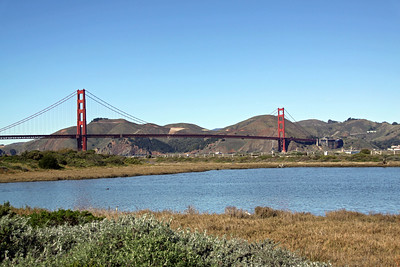 San Francisco's Golden Gate Bridge seen from the inland southern side