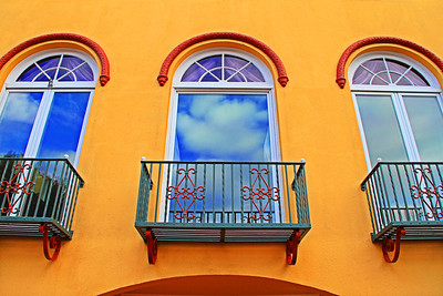 Baker Street Balcony Blues: Apartment Windows along Baker St in the Marina District of San Francisco near the Palace of Fine Arts.