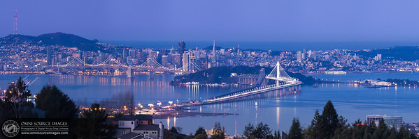 "San Francisco Pre-Dawn Twilight (Super HD-Panorama 1:3). Viewed from the Oakland Hills, this cropped version of the Original (22,549 x 4510 pixel/300dpi) image is 11,721 x 3907 pixels and can alos be printed up to 96"" in length without any loss of detail! Sunday, December 29, 2013 at 6:57 AM."