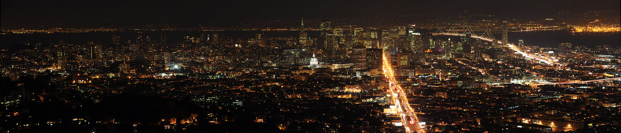 San Francisco at night, from Twin Peaks.