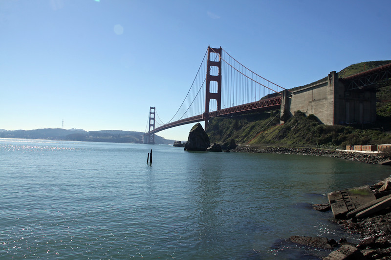 San Francisco's Golden Gate Bridge seen from Fort Baker, the inland northern side.