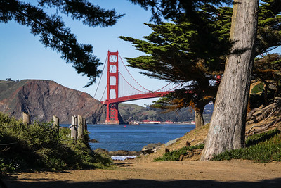 Golden Gate Bridge taken from the ocean south side at one of the trails leading down to the beach.