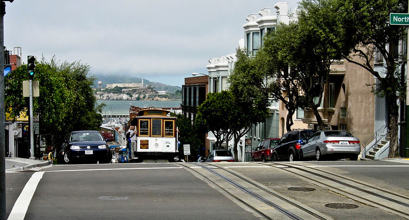 Cable car with Alcatraz in background