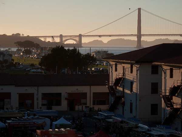 Fort Mason festival in front of the Golden Gate Bridge