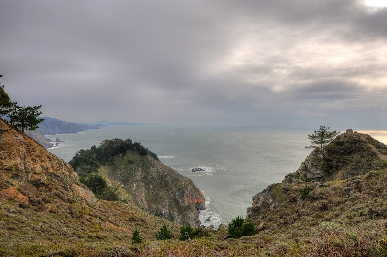 South from Muir Beach overlook, cloudy day