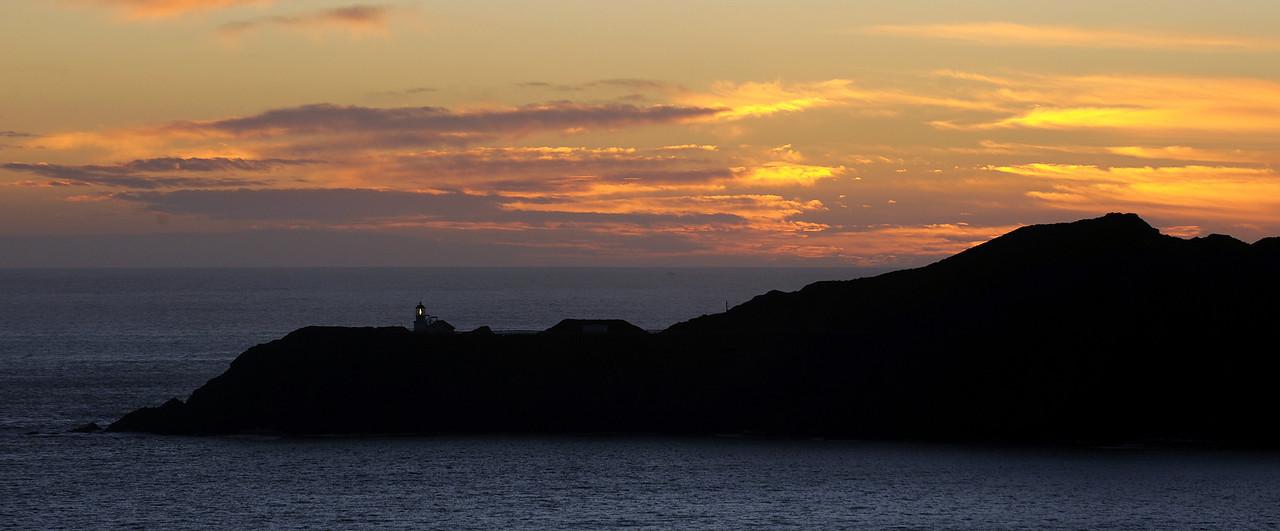 Point Bonita light at sunset, Marin County