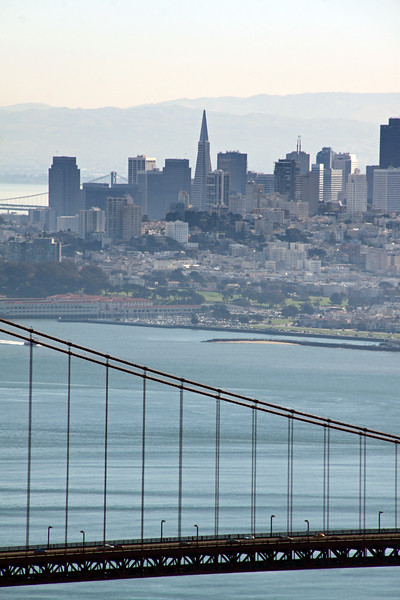 San Francisco cityscape taken from the ocean southern side of the Golden Gate Bridge