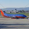 Airplane prepares to depart at the airport in San Jose, California.