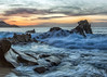Huge waves at sunrise