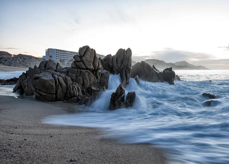 Morning surf on the rocks