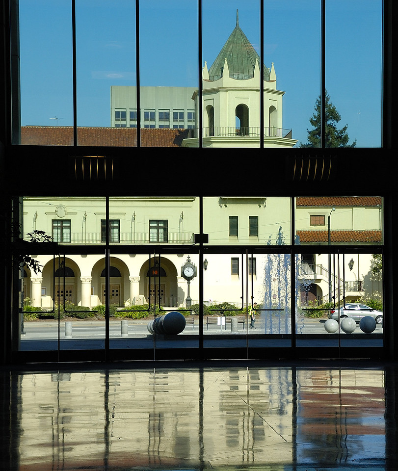 Looking out the front door of the San Jose Convention Center.