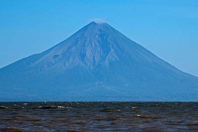 """El Ometepe"" by telephoto lens showing gasses coming from the top"