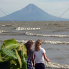 Children enjoys  the view overlooking the lake and volcano in Nicaragua.