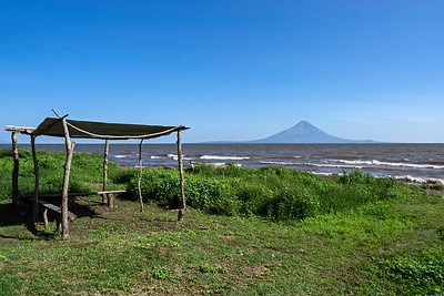 """El Ometepe"" volcano in the distance on Lake Nicaraqua"