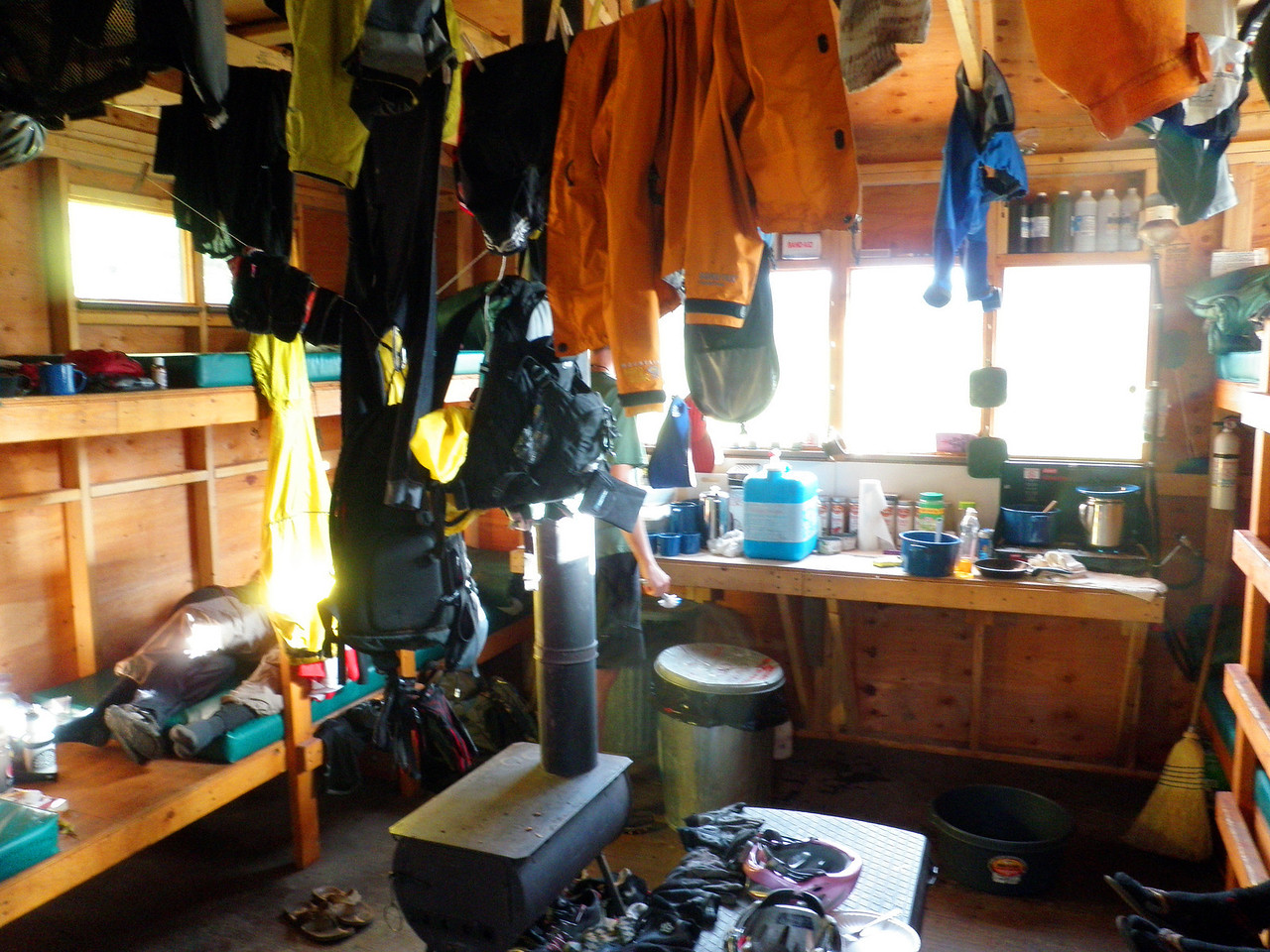 Day 1 Drying Clothes Turned the Hut into a Lycra Jungle
