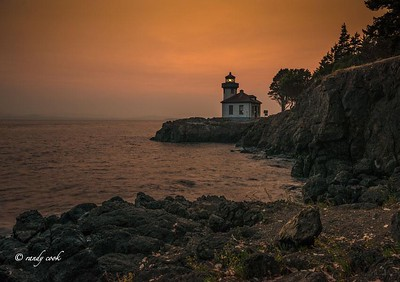 Lighthouse at Lime Kiln Park. San Juan Island, Washington