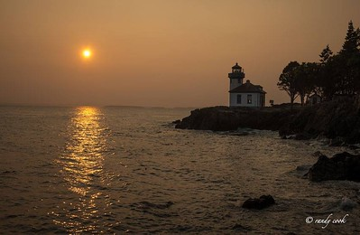 Lighthouse at Lime Kiln Park, San Juan Island, Washington at sunset