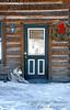 NoPR, Dog at Doorway, Winter, Holiday Season, Ouray, Colorado USA, North America
