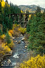 Autumn, Old Trestle, Aspen trees, (Populus tremuloides), San Juan Mountains, San Juan National Forest, Colorado, USA, North America