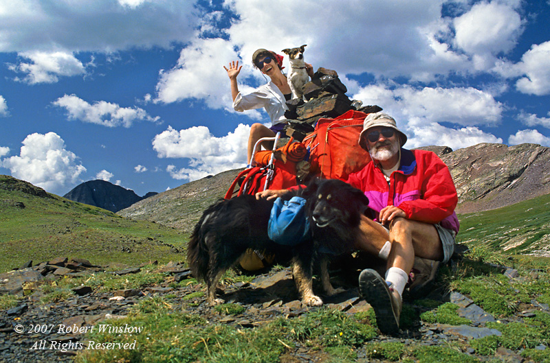 Model Released, Male and Female Backpackers with their Dogs, Weminuche Wilderness, San Juan National Forest, Colorado, USA, North America