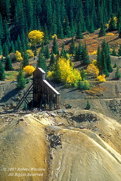 Autumn,Yankee Girl Mine Shaft Building, Red Mountain Pass, San Juan Mountains, Colorado