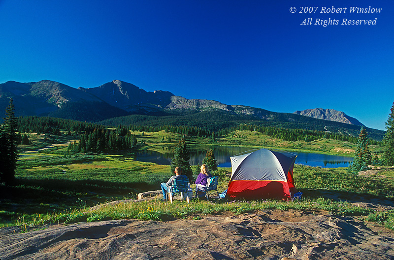 NoMR, Couple and Tent, Little Molas Lake, San Juan Mountains, San Juan National Forest, Colorado