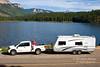 Model Released, Woman, Pickup Truck and Trailer, Haviland Lake, San Juan National Forest, Colorado