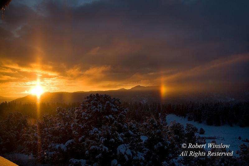 Sunrise and Sundog, Winter, La Plata County, Colorado, USA
