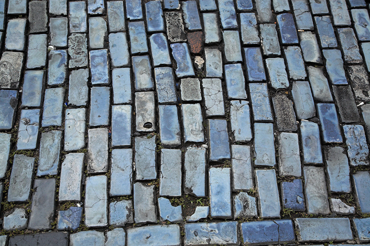 Blue paving bricks of Old San Juan