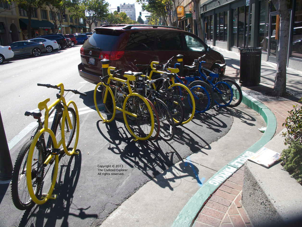 New bike racks in San Mateo.
