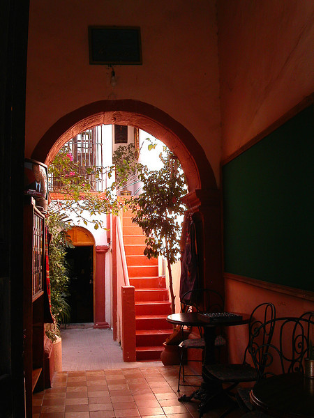 Red stairs in San Miguel de Allende